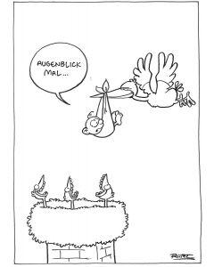 Ruthe: Original Zeichnung Unikat - Storch Augenblick mal
