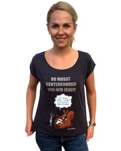 Ruthe: Frauen T-Shirt Eichhörnchen (blau)