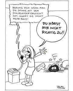Ruthe: Original Zeichnung Unikat - Spinne Staubsauger