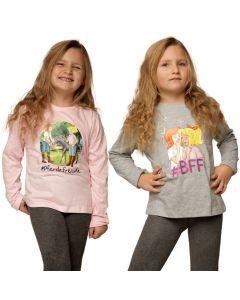 Bibi & Tina: 2er Langarmshirt (grau/rose)