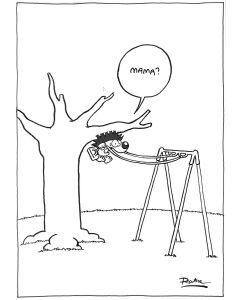 Ruthe: Original Zeichnung Unikat - Igel Mama