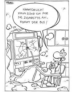 Ruthe: Original Zeichnung Unikat - Bus